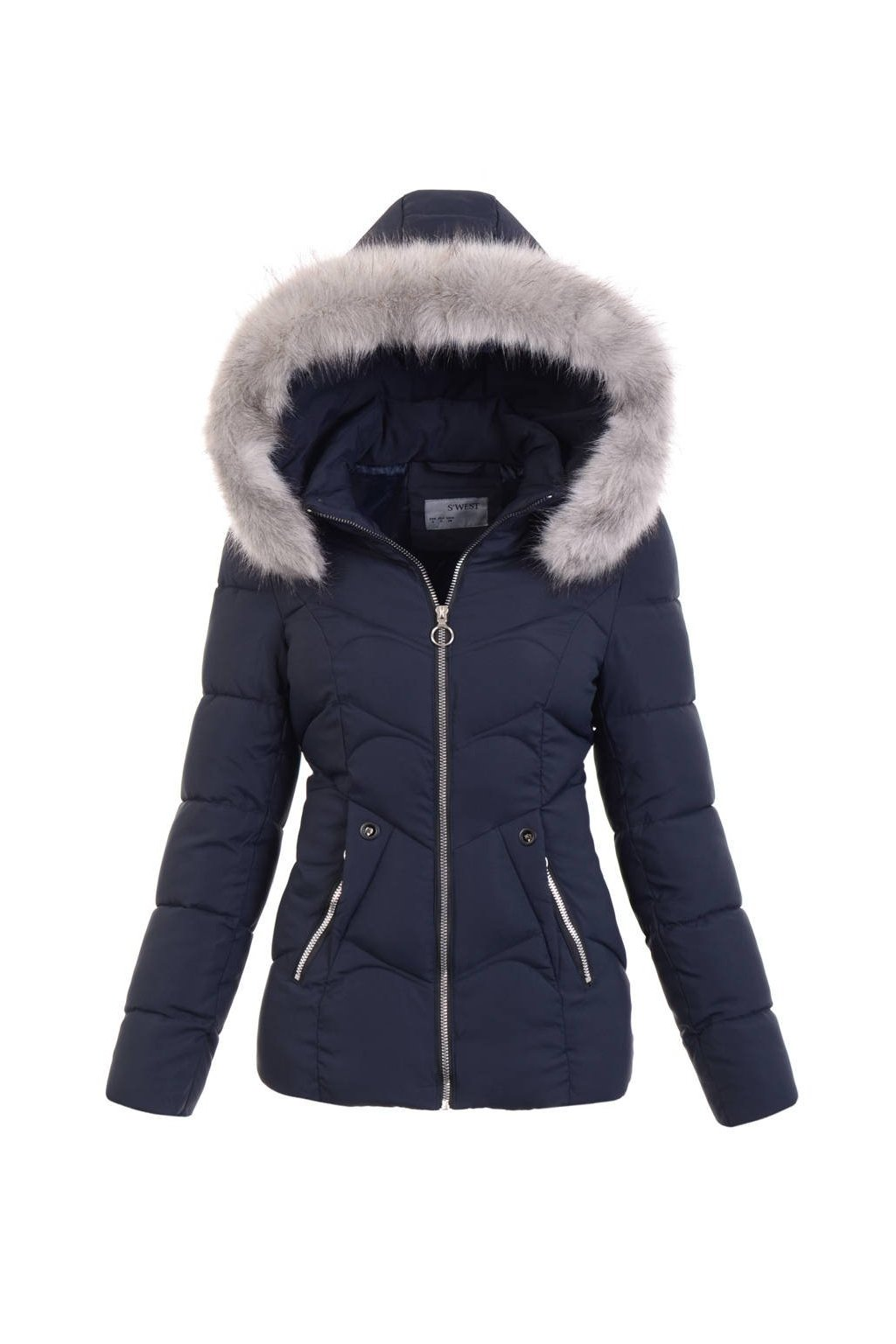 Dámska zimná bunda s kapucňou 5134 modrá