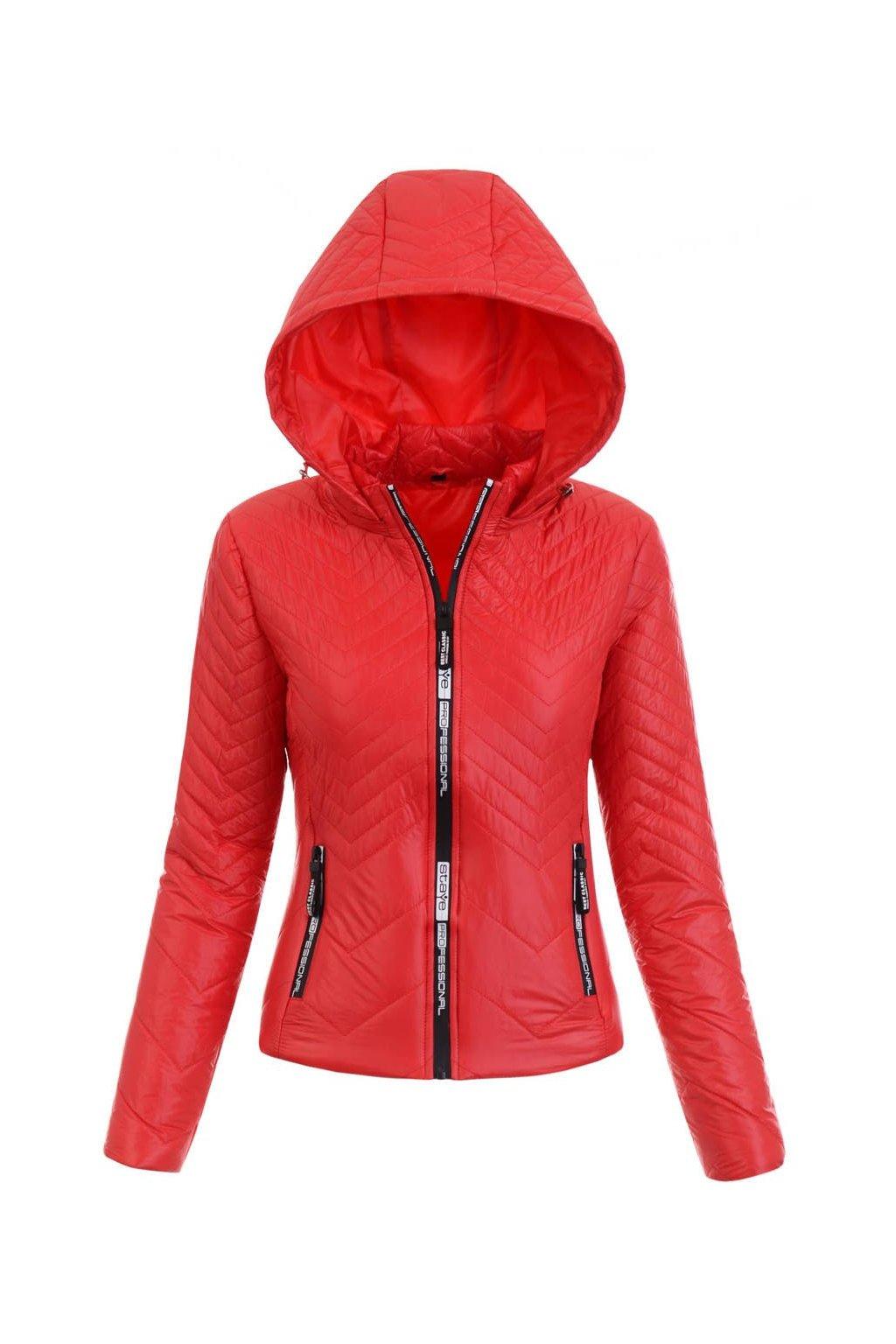 Dámska prechodná bunda s kapucňou 5426 červená