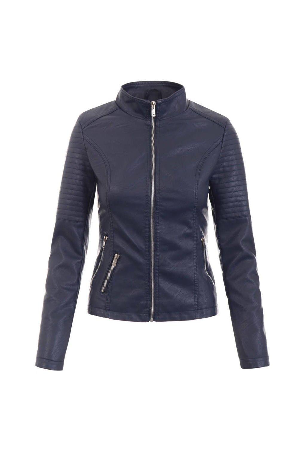 Dámska kožená bunda 5514 modrá