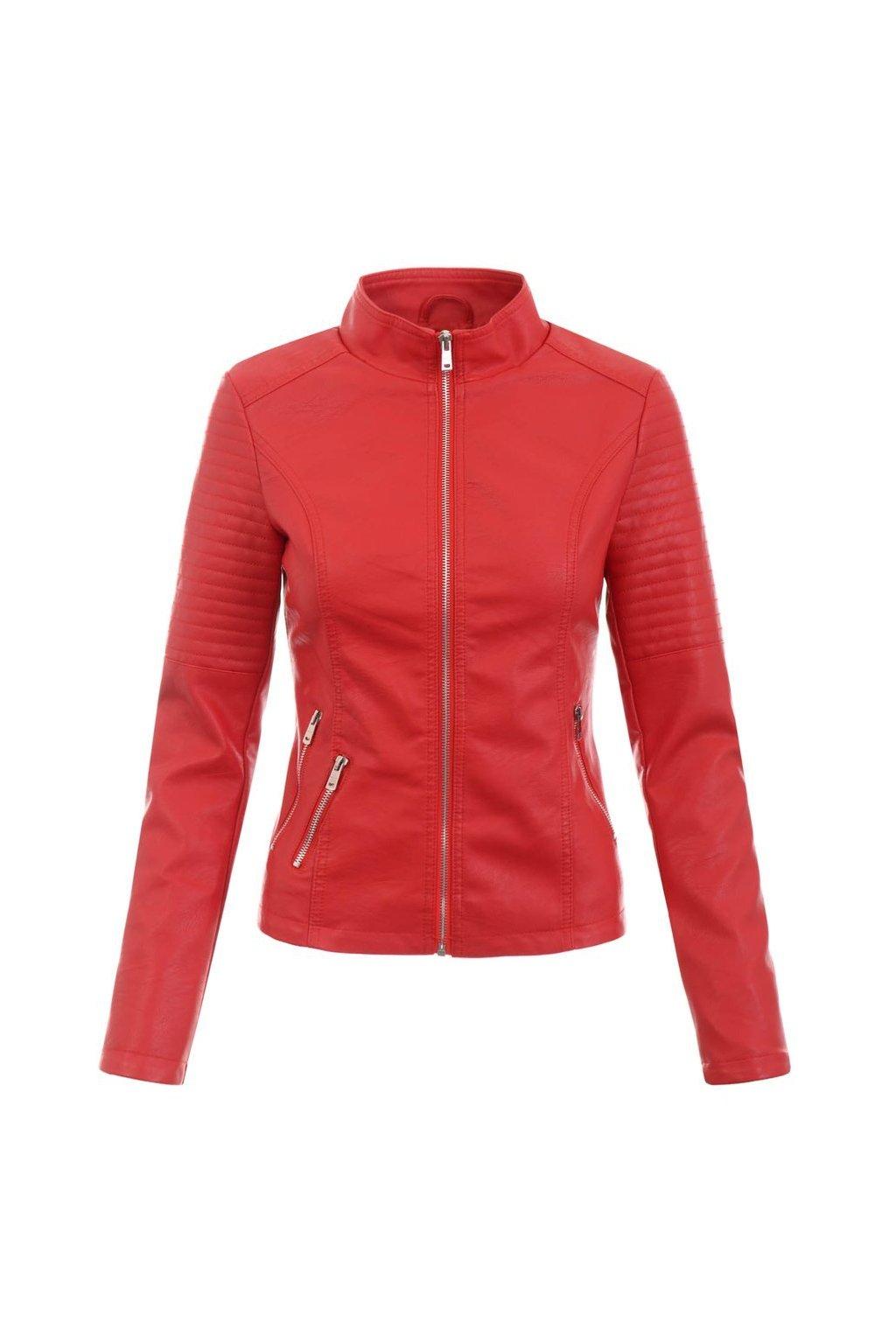 Dámska kožená bunda 5515 červená