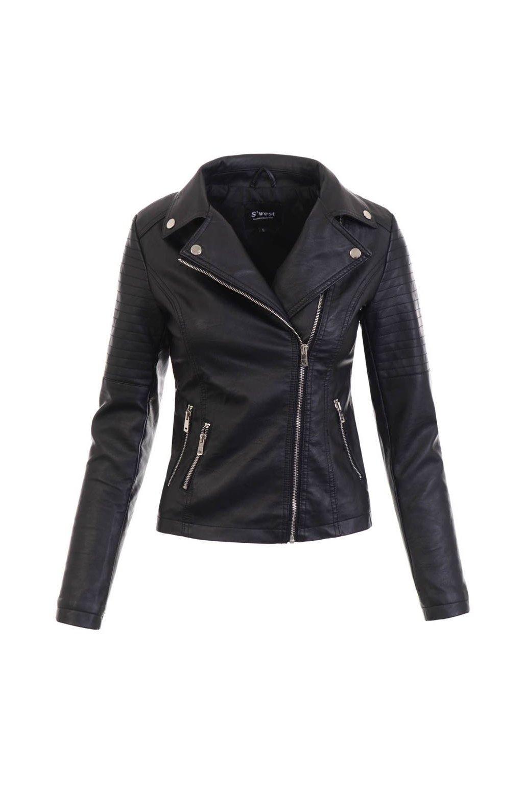 Dámska kožená bunda 5452 čierna