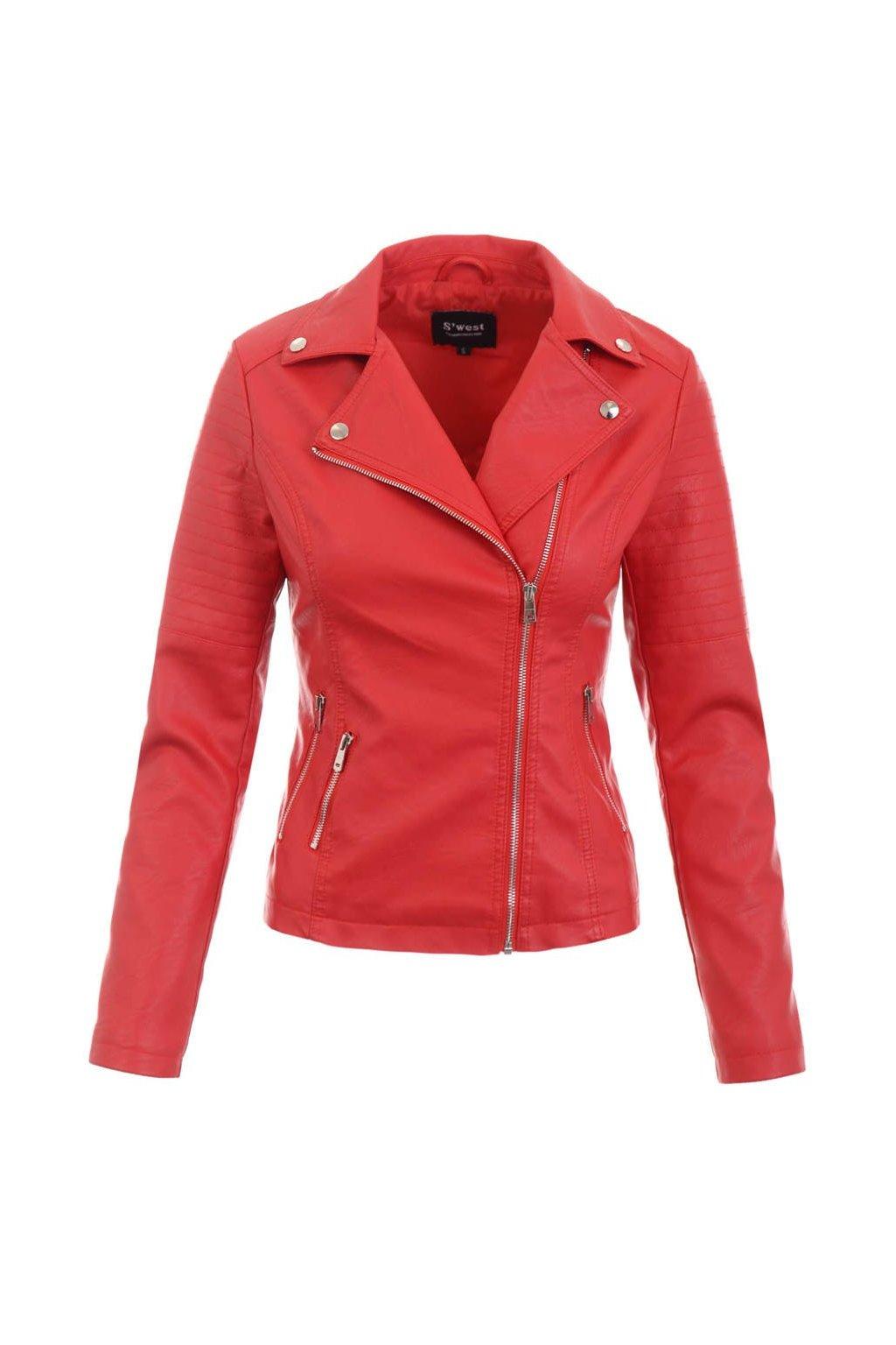 Dámska kožená bunda 5517 červená