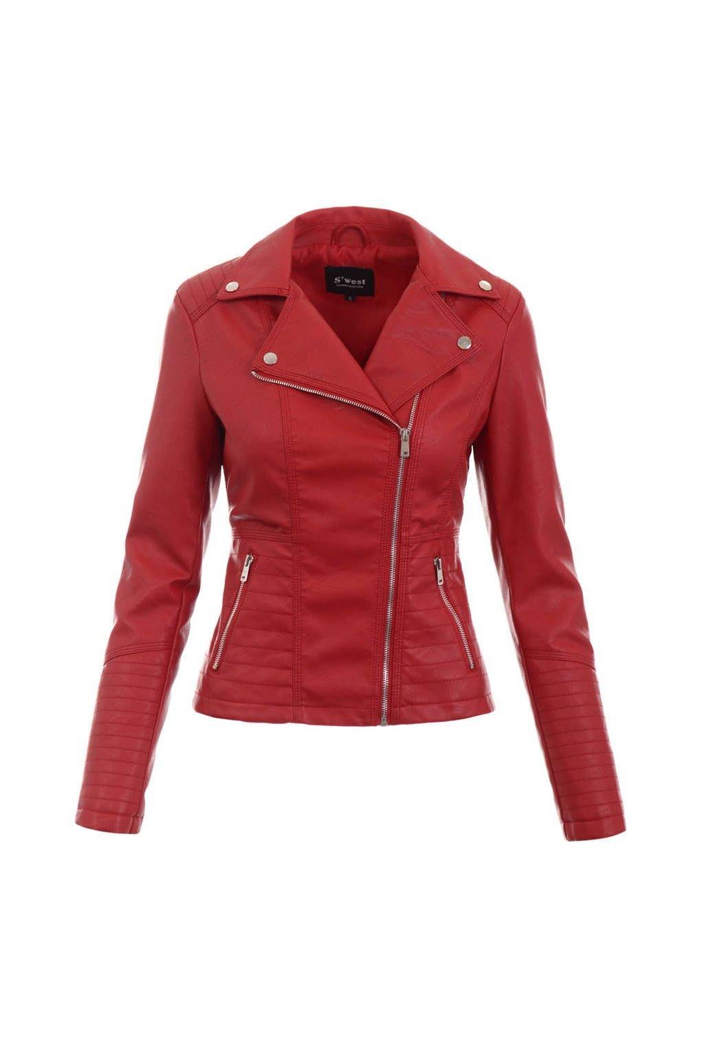 Dámska kožená bunda 5519 červená