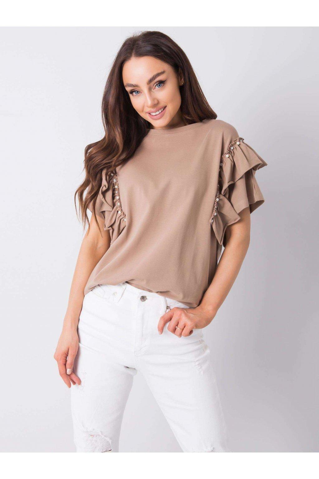 pol pl Ciemnobezowa bluzka z aplikacja Miabella 363340 2