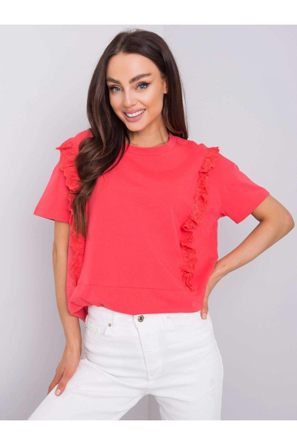 pol pl Ciemnokoralowy t shirt z falbanami Mylene 363403 1