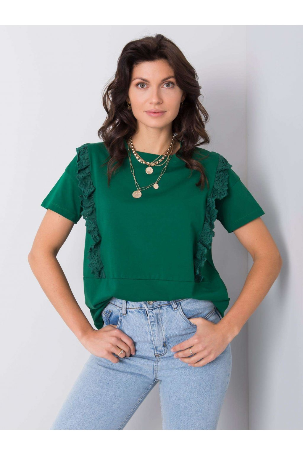 pol pl Ciemnozielony t shirt z falbanami Mylene 363404 1