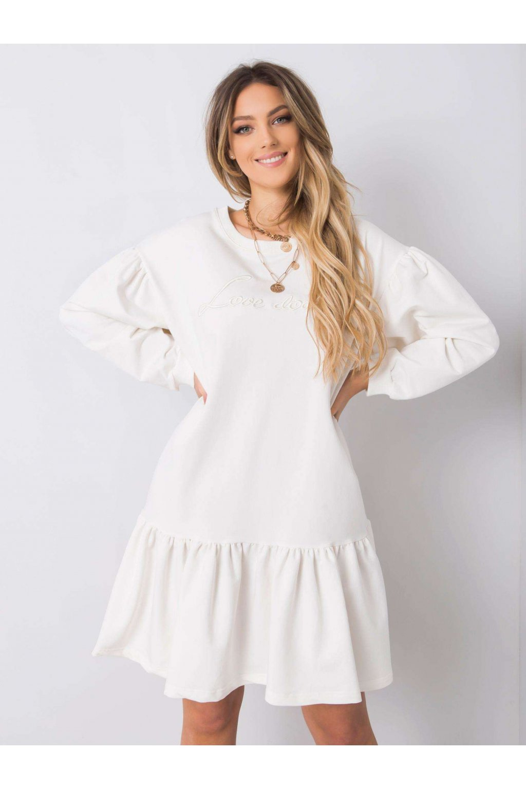 pol pl Biala sukienka z falbana Janelle 363385 1