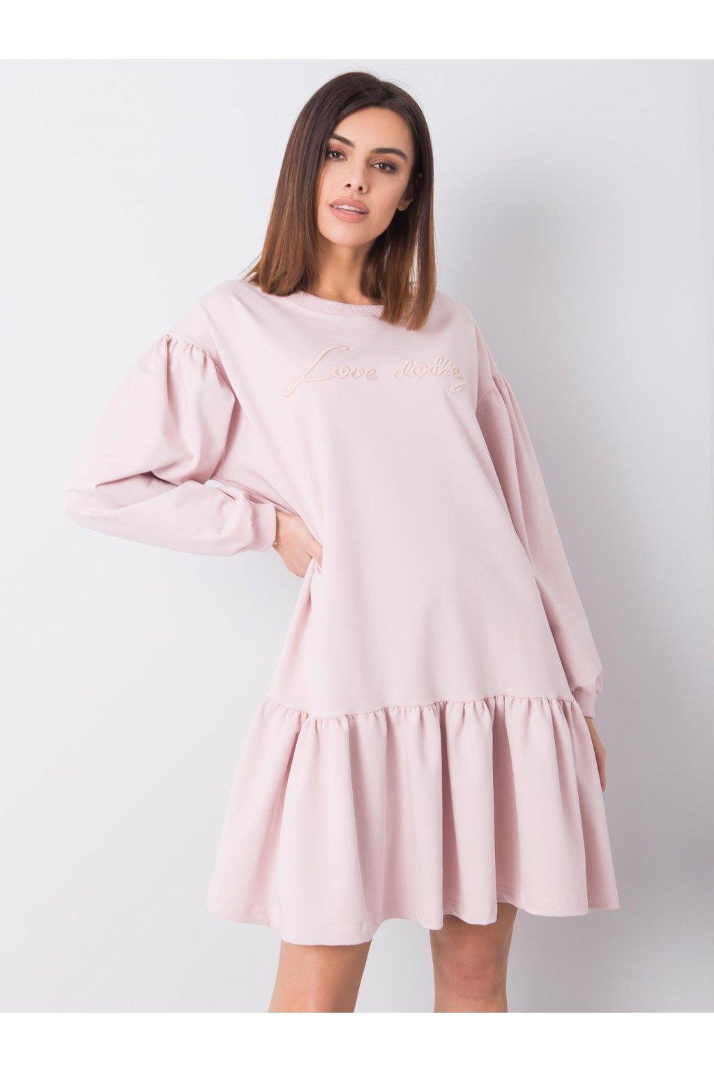 pol pl Brudnorozowa sukienka z falbana Janelle 363382 1