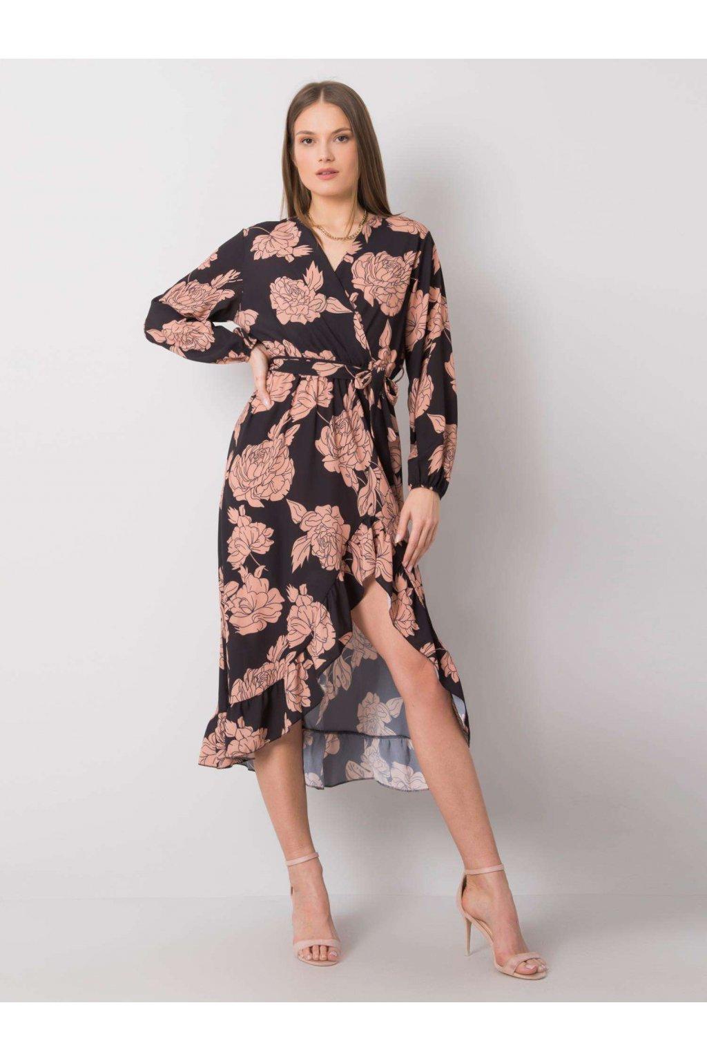 pol pl Czarno bezowa sukienka w kwiaty Camelia 362579 1