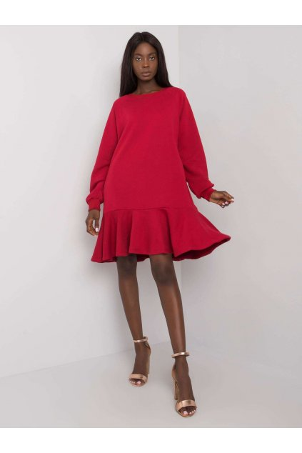 pol pl Bordowa sukienka z falbana Perrine 372812 1