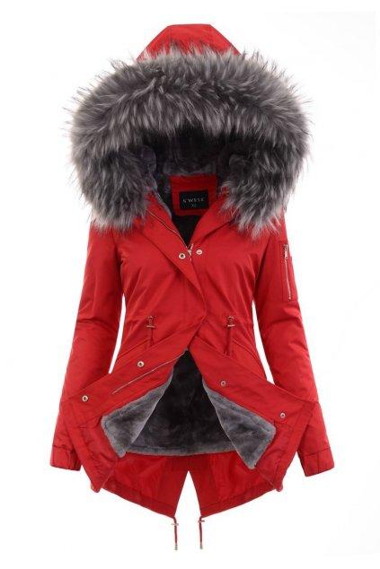 Dámska zimná bunda parka 2v1 6015 červená