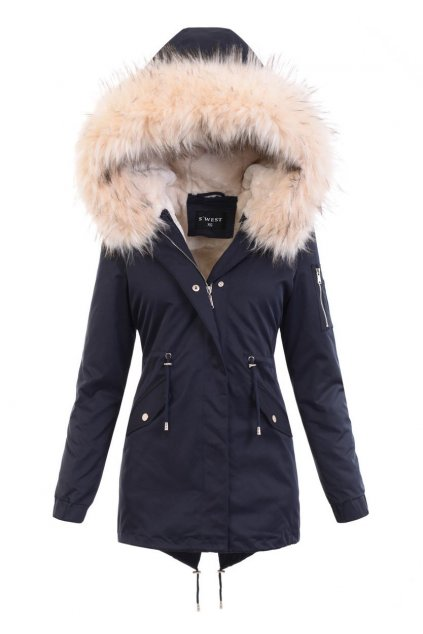 Dámska zimná bunda parka 2v1 6013 modrá