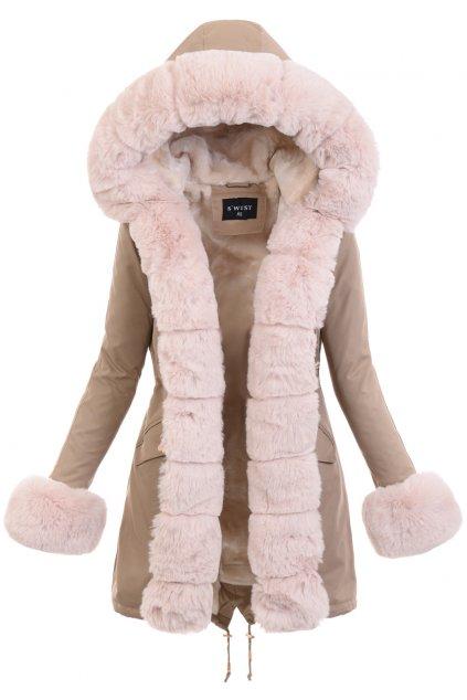 Dámska zimná bunda parka s kožušinou 6094 béžová
