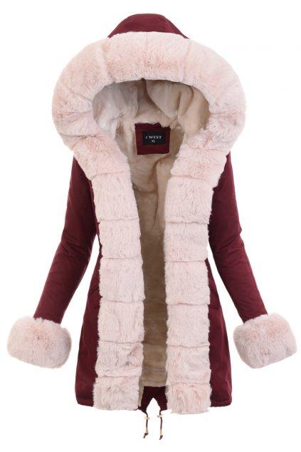 Dámska zimná bunda parka s kožušinou 6093 bordová