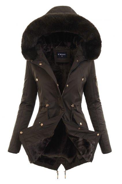 Dámska zimná bunda parka s kožušinou 6042 hnedá