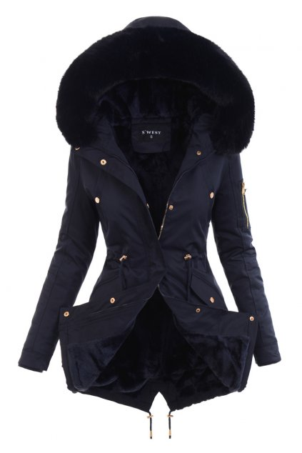 Dámska zimná bunda parka s kožušinou 6041 modrá