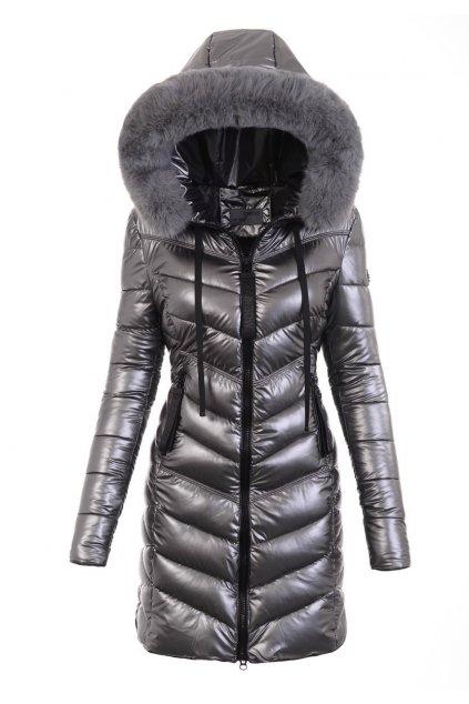 Dámska dlhá zimná bunda s kapucňou 6021 strieborná