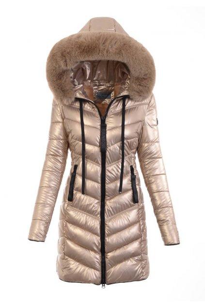 Dámska dlhá zimná bunda s kapucňou 6020 zlatá