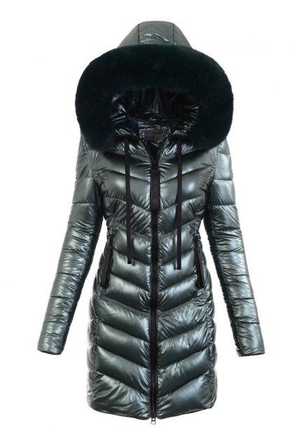 Dámska dlhá zimná bunda s kapucňou 6019 zelená