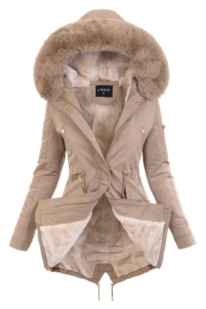 Dámska zimná bunda parka s kožušinou 6044 béžová