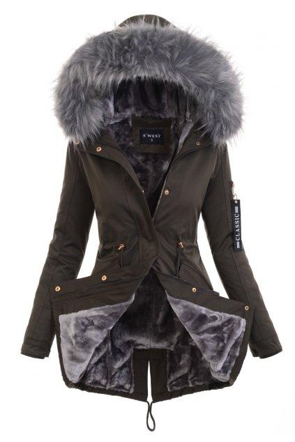Dámska zimná bunda parka s kožušinou 6037 kaki