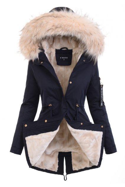 Dámska zimná bunda parka s kožušinou 6036 modrá