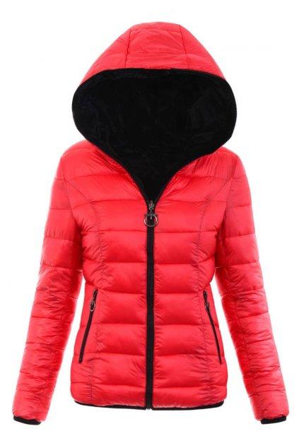 Dámska zimná bunda s kapucňou 6008 červená