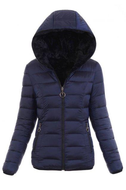 Dámska zimná bunda s kapucňou 6004 tmavomodrá