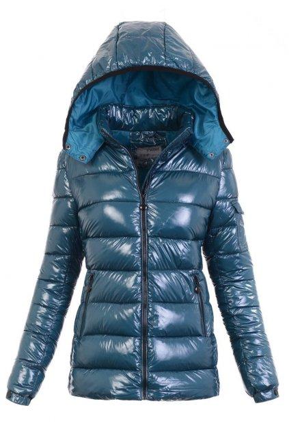 Dámska zimná bunda s kapucňou 6000 tyrkysová