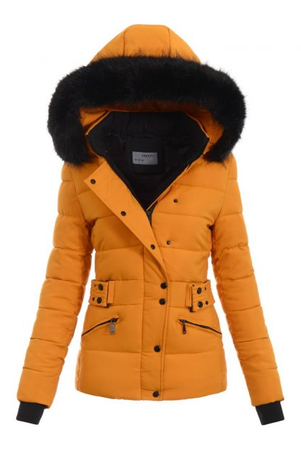 Dámska zimná bunda s kapucňou 5385 žltá