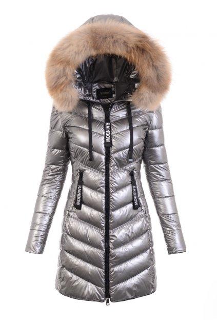 Dámska dlhá zimná bunda s pravou kožušinou 6117 strieborná
