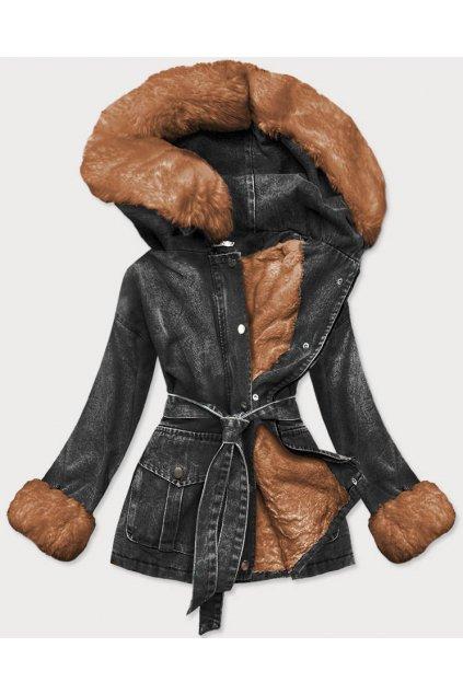 Dámska zimná rifľová bunda s  kožušinou 9026 čiernohnedá