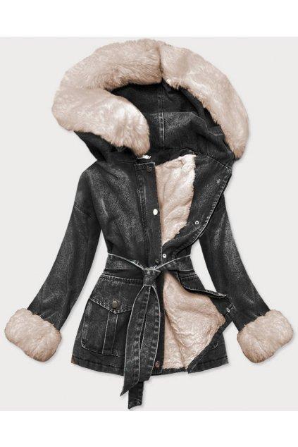 Dámska zimná rifľová bunda s  kožušinou 9026 čiernobéžová