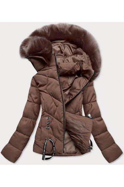 Dámska zimná bunda s kapucňou H1021-80 hnedá