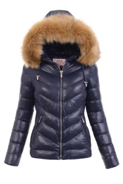 Dámska zimná bunda s kapucňou W673 hnedá