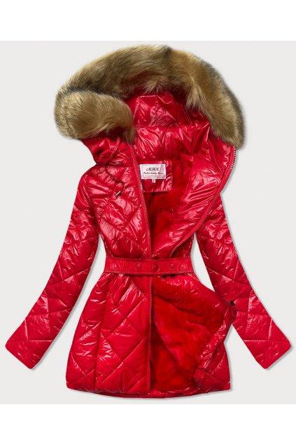 Dámska zimná bunda s kapucňou W756 červená