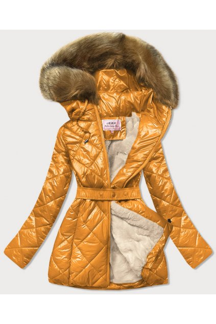 Dámska zimná bunda s kapucňou W756 žltá