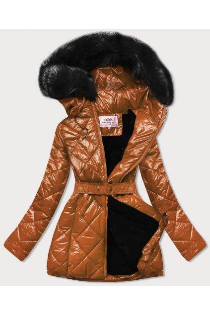 Dámska zimná bunda s kapucňou W756 hnedá