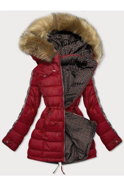 Dámska obojstranná zimná bunda s kapucňou MHM-W556 bordová