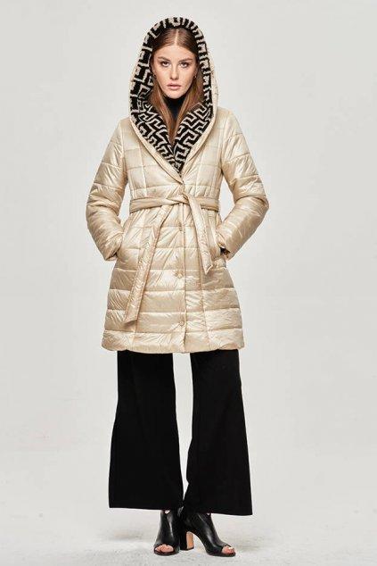 Dámska dlhá zimná bunda s kapucňou OMDL-019 béžová