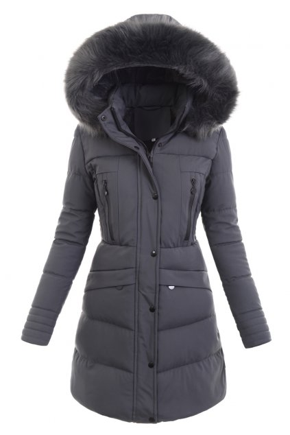 Dámska dlhá zimná bunda s kapucňou 6362 šedá