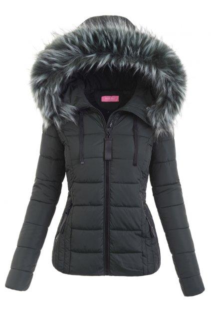 Dámska zimná bunda s kapucňou 6350 zelená