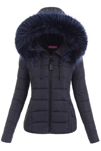 Dámska zimná bunda s kapucňou 6349 modrá