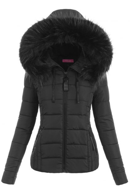 Dámska zimná bunda s kapucňou 6348 čierna
