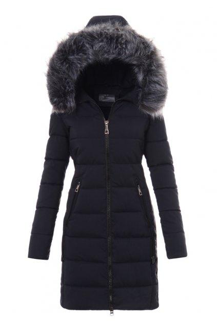 Dámska dlhá zimná bunda s kapucňou 3477 modrá