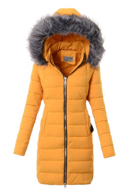 Dámska zimná bunda s kožušinou 3575 žltá
