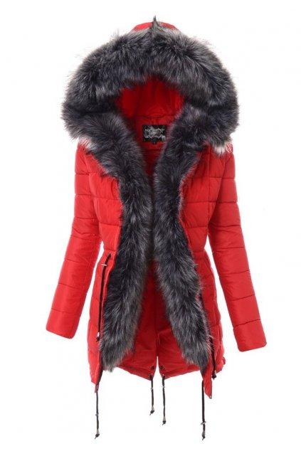 Dámska zimná bunda s kožušinou 3665 červená