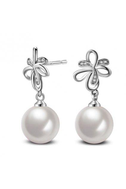 Strieborné perlové náušnice 124