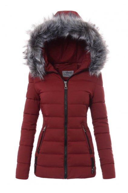 Dámska zimná bunda s kapucňou 3459 bordová