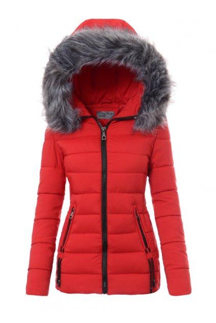 Dámska zimná bunda s kapucňou 3460 červená